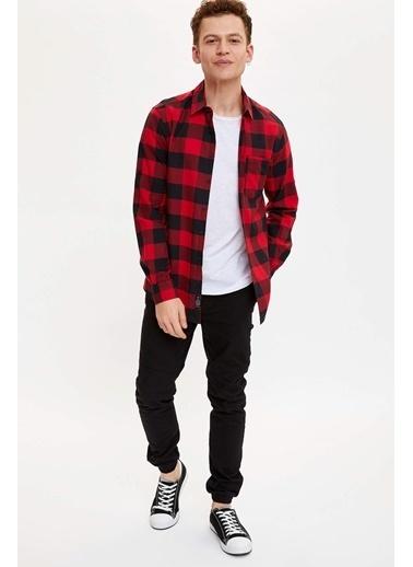 DeFacto Ekose Slim Fit Gömlek Kırmızı
